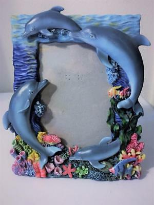 """Dimensional Ocean Dolphin Fish Coral Reef Table Picture Frame Photo Size 5""""x7"""""""