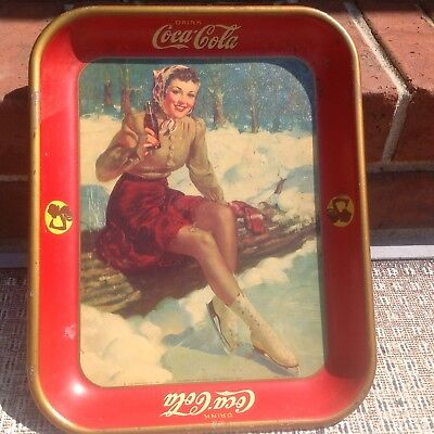 Vintage 1941 Coca Cola Metal Serving Tray Girl with ice skates sitting on log.