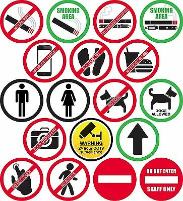 Warning Stickers Self Adhesive Signs Label✔Prohibited✔Camera✔Hazard✔Caution✔CCTV