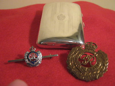 1942,W.W.2 ROYAL ENGINEERS Solid Silver Cigarette Case+Silver Brooch & Badge.