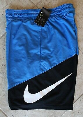 NWT Men's NIKE HBR Logo Basketball Shorts BLUE/BLACK/WHITE XL