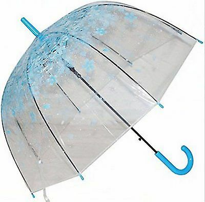 Clear Bubble Umbrella Half Automatic Flower Dome Shape Rain Umbrella New