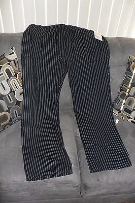 Brand New 2XL Chef Works Chef Cook Pants Black Elastic Waist with drawstring