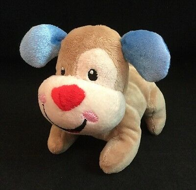 "Fisher Price Laugh & Learn Puppy Plush 5"" Baby Mascot Dog Tan Blue 2012"