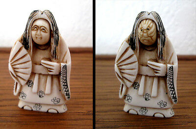 FACE changer SIGNED JAPANESE KABUKI NETSUKE MYTHOLOGy
