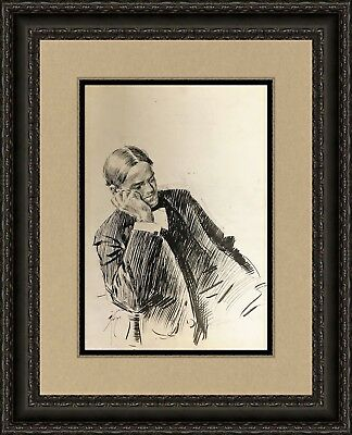 Harrison Fisher Original Ink Drawing on Paper  of Man Thinking  Custom Framed