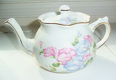 Arthur Wood & Son Floral Purple & Pink Flowers Teapot Tea Pot #6061 - England