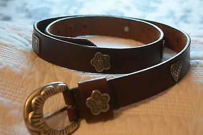 Women's Brown Leather Belt Pewter Silver Buckle & Embellishments Size XL