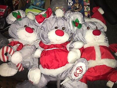 Vintage Fisher Price Puffalump Christmas Mouse Lot Of 3 Gray Mice! 1988 Plush!