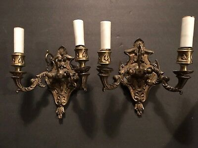 Antique Brass Candle Wall Sconce FOR PARTS