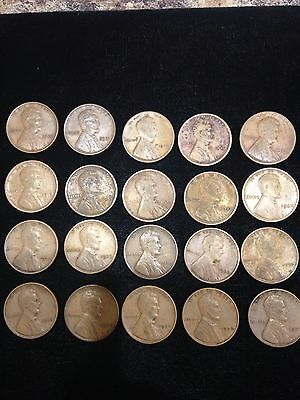 20 Different Date Lincoln Cents Before 1940
