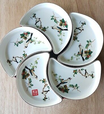 Asian Chinese Vintage Serving Crescent Bowls Dishes Lazy Susan Bird Print design