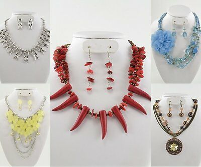 Women's WHOLESALE LOT 5 SETS HIGH END QUALITY COSTUME JEWELRY NECKLACE & EARRING