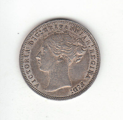 1877 Great Britain Queen Victoria Sterling Silver Threepence. High Grade.