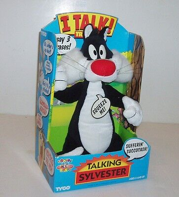 "TALKING Sylvester The Cat 13"" Plush Toy 1994 Warner Brothers LOONEY TUNES w/ BOX"