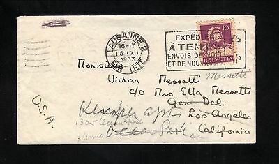 1933 Lausanne, Switzerland Cover to LA, USA--Forwarded Ocean Park Station