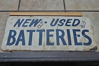 Vintage New and Used Batteries Metal Sign Man Cave
