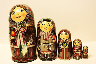 """Alkota Russian Authentic Collectible Nesting Doll """"Apples"""", 6""""H, Unique"""