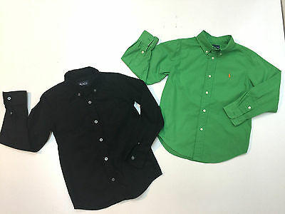 Lot 2 Boy Long Sleeve Cotton Shirts Ralph Lauren Green Place Black Size 5-6
