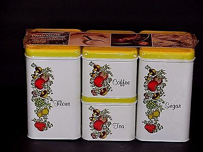 Vintage Canister Set Original Package Yellow Four Piece Cheinco Pantryware