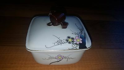 """Hand Painted Japanese Blossoms & Bird YY Japan Ceramic Butter Dish Container 5"""""""