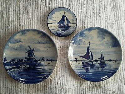 Vintage Delft Wall Pottery Plates