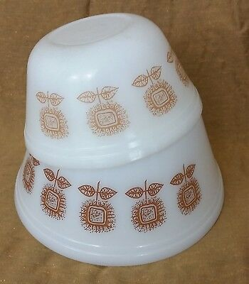 Vtg Pair Federal Milk Glass Mixing Bowls Brown Sunflower Floral Design Lot of 2