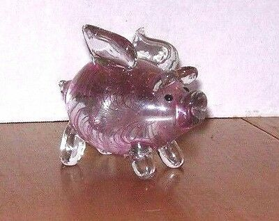 "LENOX Hand Blown Art Glass ""When Pigs Fly"" Figurine Pink"