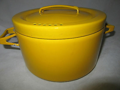 Vtg Mid Century Danish Modern Enamelware Pot With Lid in Yellow