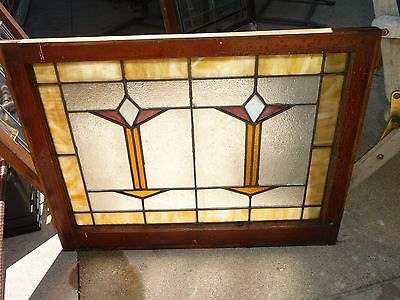 "Antique Chicago Bungalow Stained Leaded Glass Window 32"" by 25"" ARTS CRAFT"