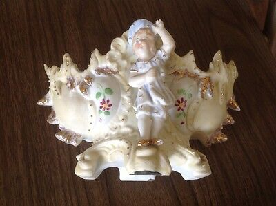 Vintage  French Bisque Figure Figurine  Girl Flower Vase Bowl Container