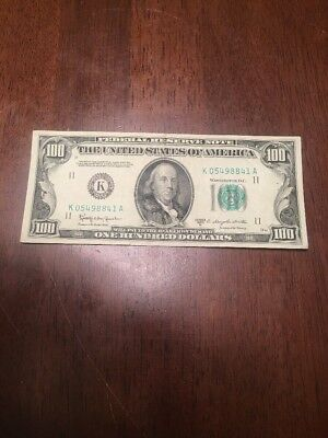 1950 D ONE HUNDRED Dollar Federal Reserve Note $100 Bill Mint Old Money
