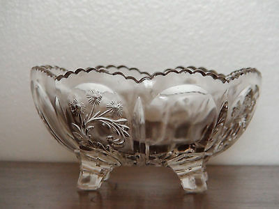 EAPG Circa 1900 Floral Pressed Glass Candy Dish / Nut Bowl