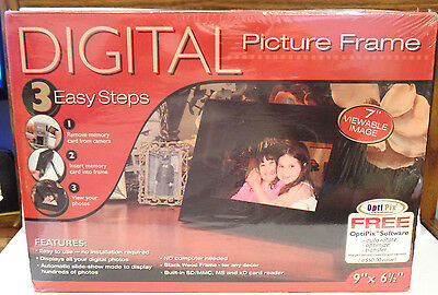 Digital Picture Black Wood Frame ~ NEW Still Factory Sealed ~ Opti Pix SP70EWB