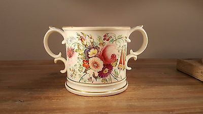 Beautiful 1819 dated & named Georgian hand painted china loving cup w/two frogs