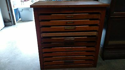 Vintage Hamilton Manufacturing Wisconsin printing press wood cabinet with trays