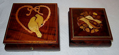 Sorrento Italy Inlaid Wood Music Boxes Reuge Swiss Musical Movement,Both Play