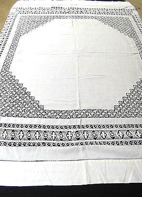 Vintage Linen Hand Drawnwork Tablecloth 50 Square Repair