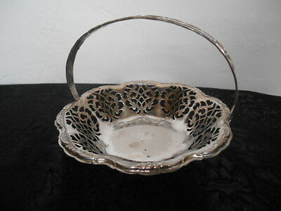 Beautiful Vintage Pierced Silver Plated Small Brides Basket ca. 1940-1950