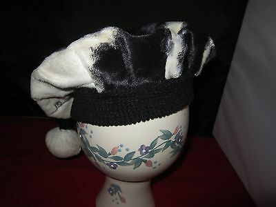 Vintage girls fur Hat / Tam white & black cow print faux fur with pom pom