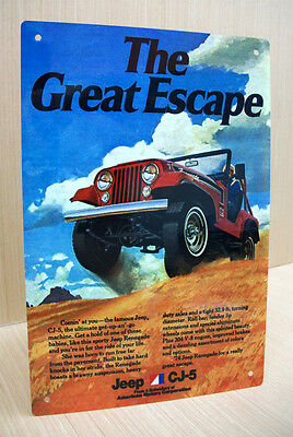1974 Amc Jeep Renegade Cj5 The Great Escape Metal Vintage Style Sign