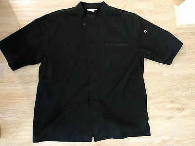 Chef Works Black Chef Jacket XL Short Sleeve Valais V Series Like NEW