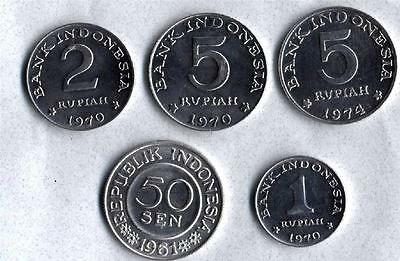 INDONESIA 1961-1974 Set of 5 CIRCULATED Coins from 50 Sen to 5 Rupiah.