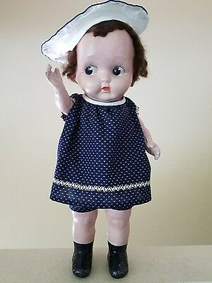 """1920s 30s Scarce Vintage CHUBBY KID  Doll Composition 18"""" Brown Wig"""