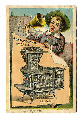 Victorian Trade Card JS & M PECKHAM Belfast Range Utica NY Stoves Boy w Bell