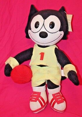 """Felix the Cat Basketball 16"""" A&A Plush Stuffed Toy Vintage 1996 ~ With Tags"""