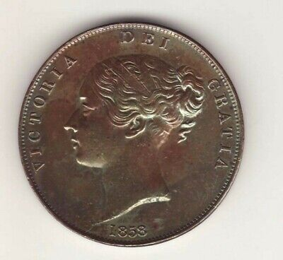 1858 GREAT BRITAIN  Large Cent Penny  VICTORIA High Grade
