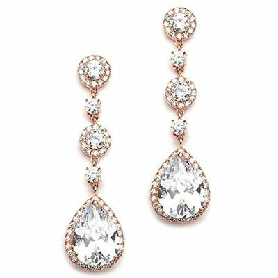 89d52571411b Drop   Dangle Mariell Cubic Zirconia 14K Rose Gold Pear-Shaped Teardrop  Earrings