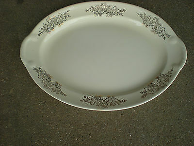 Taylor Smith Taylor Oval Serving Platter with Gold Flowers Golden Floral USA