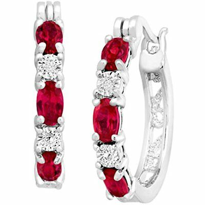 Hoop Finecraft Ct Created Ruby Hoop Earrings With Diamonds In Platinum-Plated